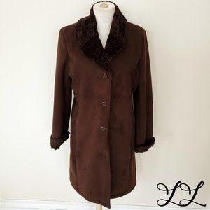 Jones New York Coat Long Brown Faux Suede Faux Fur